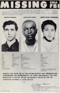 FBI Poster of Missing Civil Rights Workers James Goodman, Andrew Chaney and Michael Schwerner, Summer 1964